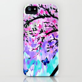 cherry blossom with Ulysses butterflies iPhone Case