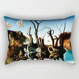 Salvador Dali Swans Reflecting Elephants 1937 Artwork for Wall Art, Prints, Posters, Tshirts, Men, Women, Kids Rectangular Pillow