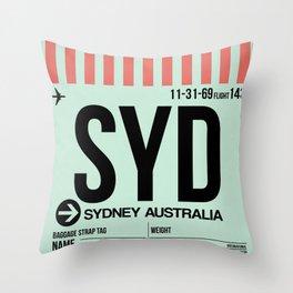SYD Sydney Luggage Tag 1 Throw Pillow
