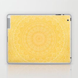 The Most Detailed Intricate Mandala (Mustard Yellow) Maze Zentangle Hand Drawn Popular Trending Laptop & iPad Skin