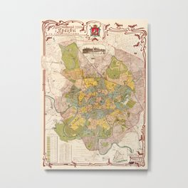 Map Of Moscow 1910 Metal Print