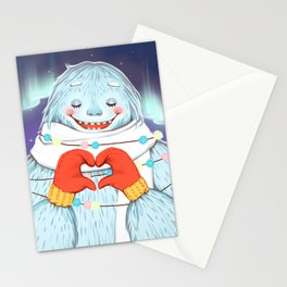 Yeti in love Stationery Cards