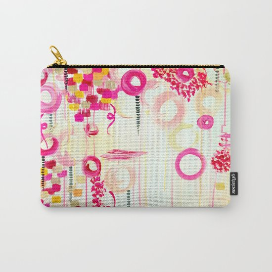 BALLOON LOVE Bubblegum POP! Beautiful Cheerful Bubbles Pretty Pink  Abstract Acrylic Painting Sky Carry-All Pouch
