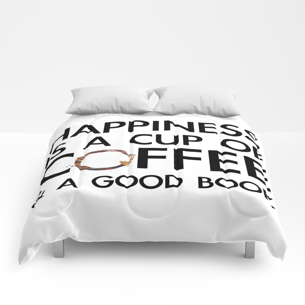 Happiness Is A Cup Of Coffee & A Good Book Comforter by Catmustache CMF8459679