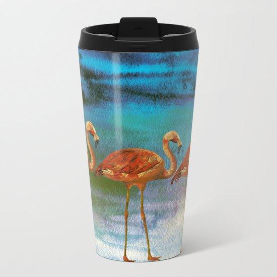 Tropical Flamingo Illustration on watercolor - Birds Animals  #Society6 Metal Travel Mug