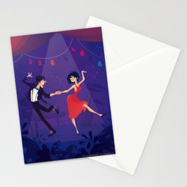 Dancing night couple Stationery Cards