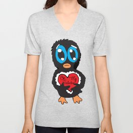 Be My Valentine Penguin  Unisex V-Neck