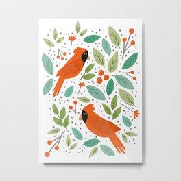 Chirpy Cardinals Metal Print