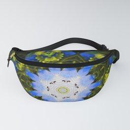 Kaleidoscopic Mandala Baby Blue Eyes Flower Fanny Pack