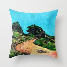 Dirt Road ( with U.F.O.) Throw Pillow