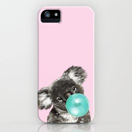 Playful Koala Bear with Bubble Gum in Pink iPhone Case