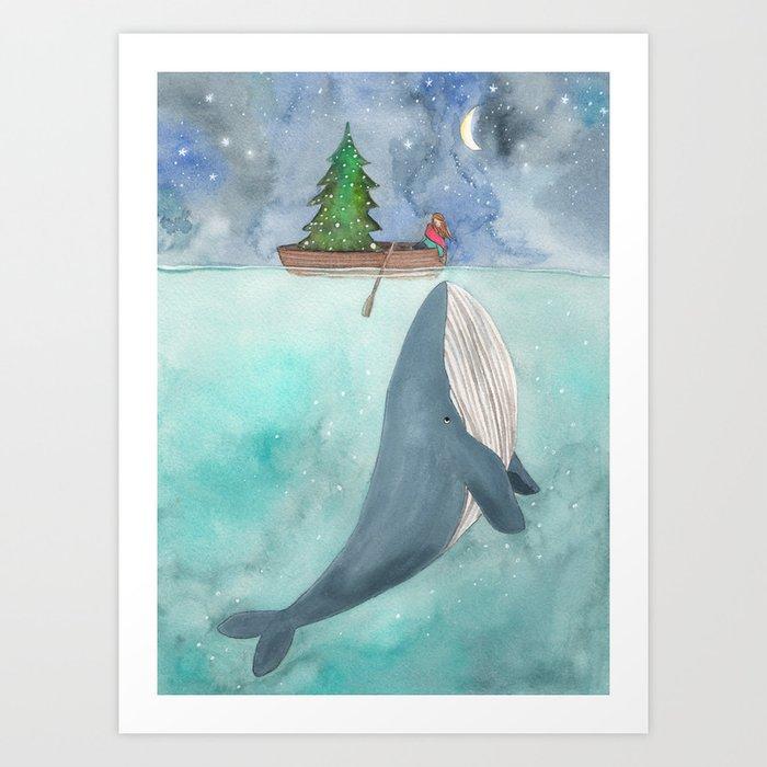 When a whale likes Christmas Art Print