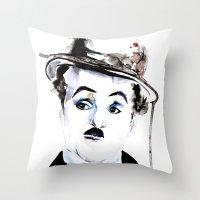 charlie chaplin Throw Pillows featuring Charlie Chaplin by Anastasia Efthias