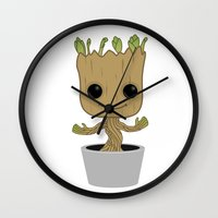 groot Wall Clocks featuring Little Groot by Pete