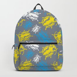 Beetles on Grey Background Pattern Backpack