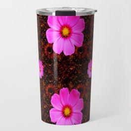FUCHSIA PINK FLOWERS &  DARK ART Travel Mug
