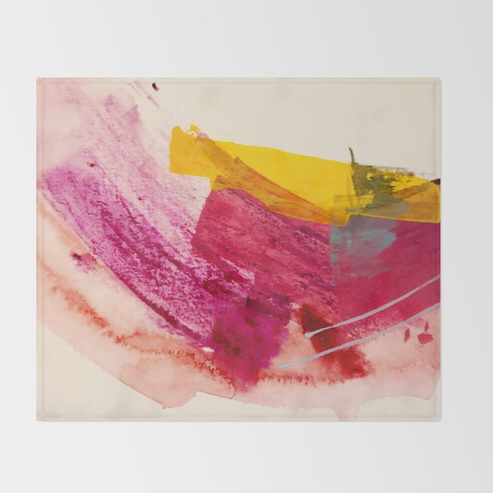 Pink Lemonade: a minimal, colorful abstract mixed media with bold strokes of pinks, and yellow Throw Blanket