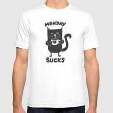 MONDAY SUX Mens Fitted Tee White MEDIUM