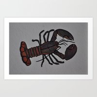Lobster, Ink and Watercolor Art Print