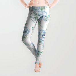 Succulents Pastel Mint Green Turquoise Teal Sky Blue Pattern Leggings