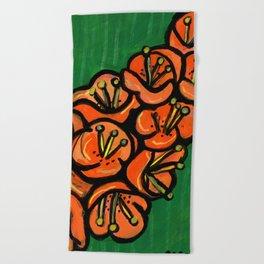 Orange Tropical Flowers Beach Towel