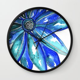 Blue Watercolor flower Wall Clock