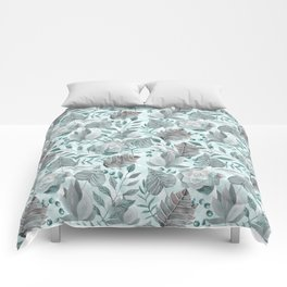 Watercolor Leaf And Succulent Pattern Comforters