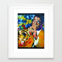 louis armstrong Framed Art Prints featuring Louis Armstrong by Phil Fung