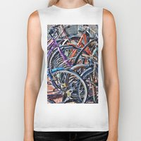 bicycles Biker Tanks featuring Lots of colorfull bicycles by Claude Gariepy
