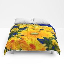 DECORATIVE DEEP BLUE YELLOW FLORAL GARDEN Comforters