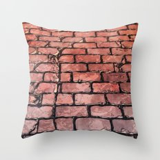Vintage Brick Street Throw Pillow