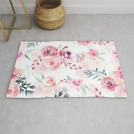 Pink Watercolor Florals I Rug
