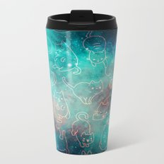 Turquoise Galaxy Star Kitty Pattern Metal Travel Mug