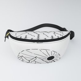 Nighttime and Daytime Mountain Range Landscapes Design Fanny Pack
