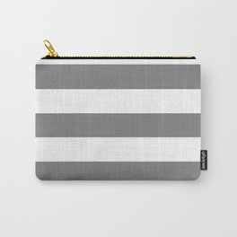 Gray (HTML/CSS gray) -  solid color - white stripes pattern Carry-All Pouch