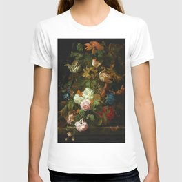 """Ernest Stuven """"Still life of flowers in a glass vase with a butterfly on a ledge"""" T-shirt"""