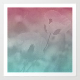 Pink Blue Poppies Art Print