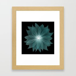 Blue flower on a black background . Framed Art Print
