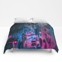 Pink face in the city Comforters