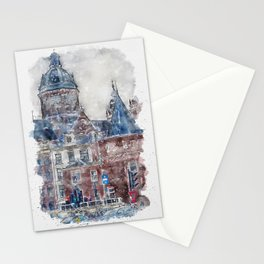 Aquarelle sketch art. Basilica of Saint Nicholas in Amsterdam, Netherlands Stationery Cards