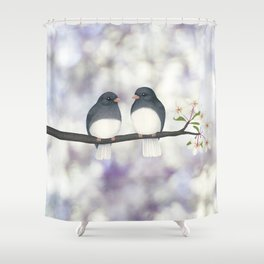 dark eyed juncos (bokeh and blossoms) Shower Curtain