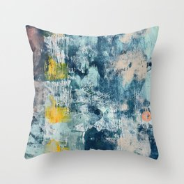 017.3: a bright contemporary abstract design in blues pinks and yellow by Alyssa Hamilton Art  Throw Pillow