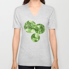 Green Tropical Leaves Pattern Unisex V-Neck