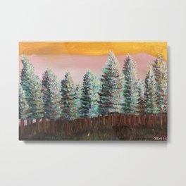 Seattle Green Pine Trees Metal Print