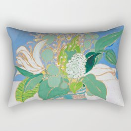 Lily and Eucalyptus Bouquet in Blue and Peach Floral Vase Rectangular Pillow