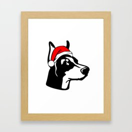 Doberman Dog with Christmas Santa Hat Framed Art Print