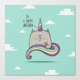 I'm happy unicorn cat Canvas Print