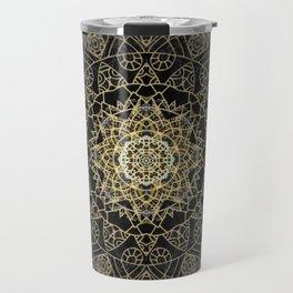 Bohemian Gold Brushed Mandala design Travel Mug