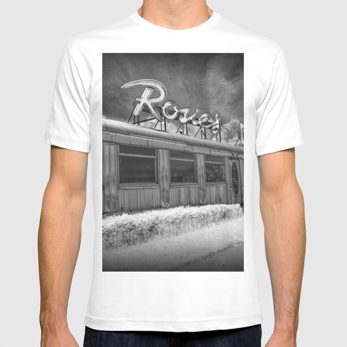 e595babb42417 Rosie's Diner Photograph in Infrared Black & White by Rockford, Michigan  T-shirt by randynyhof | Society6