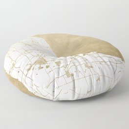 Chicago Gold and White Map Floor Pillow